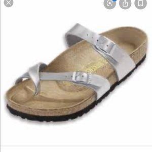 Birkenstock's Mayari sandal size 6 silver strap